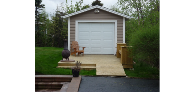 garage with patio